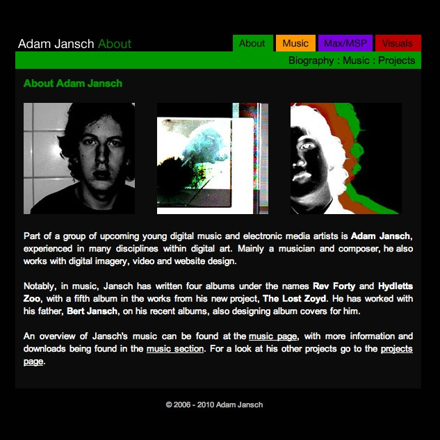 AJ | Code | AJ | Adam Jansch | Update to Adam Jansch website