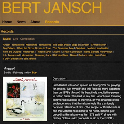 AJ | Code | Bert Jansch website | More record info in Bert Jansch website update